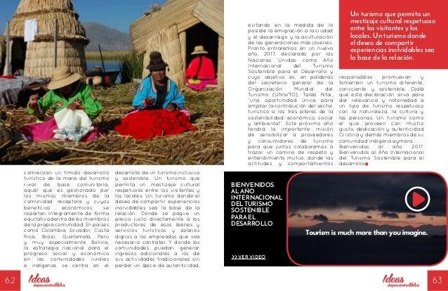 62 63 comienzan un tímido desarrollo turístico de la mano del turismo rural de base comunitaria, aquél que es gestionado p...