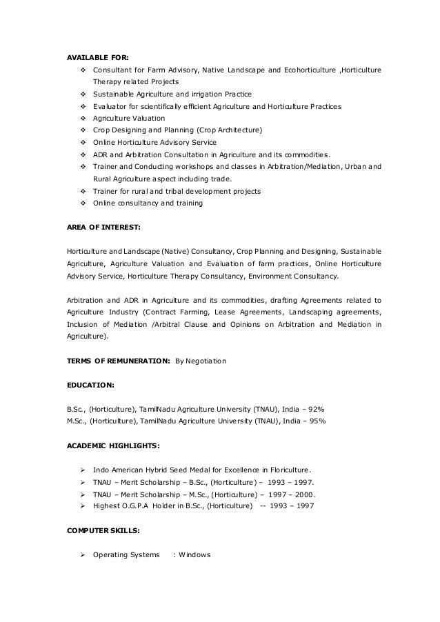 4 - Horticulture Resume