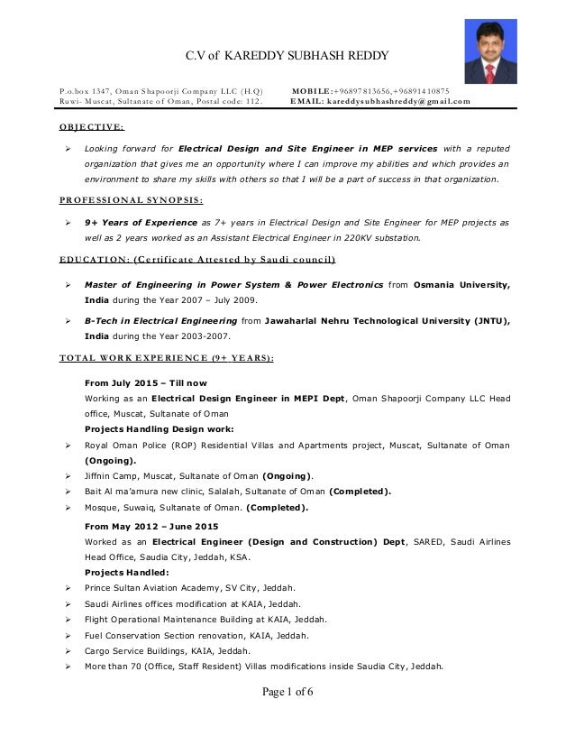 cv of kareddy subhash reddy pobox 1347 oman shapoorji company llc hq - Electrical Project Engineer Sample Resume