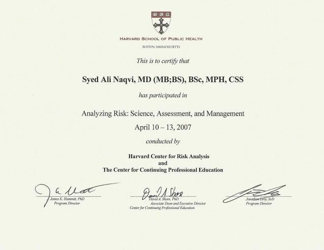 Harvard Public Health Certificate