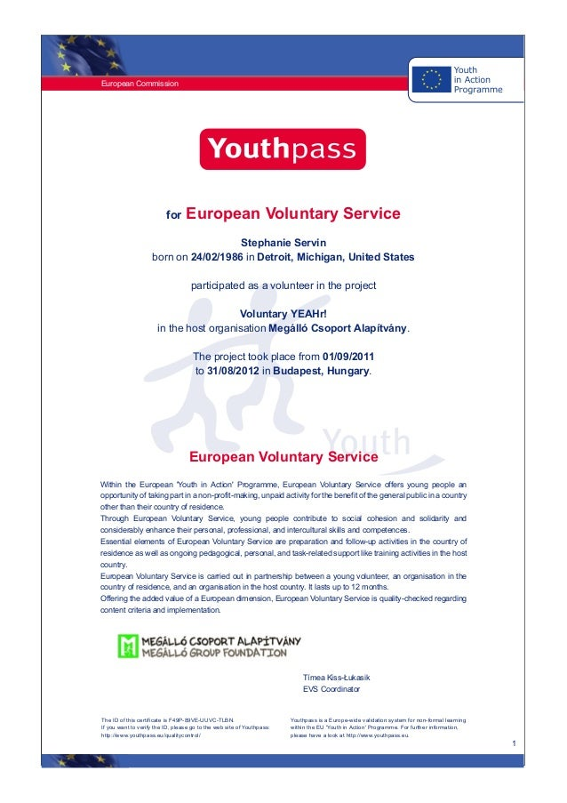Stephanie Gentle Youthpass Certificate