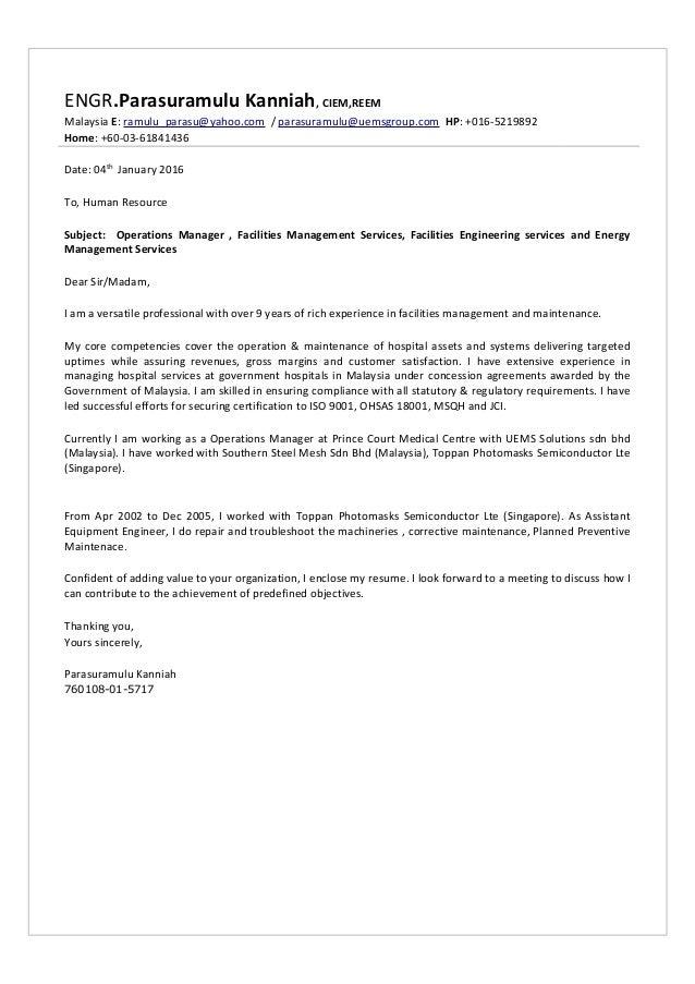 Cover Letter - Parasuramulu Kanniah ( 20th May 2015)