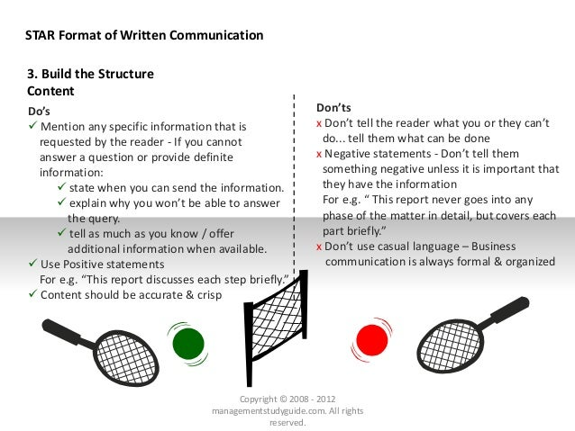 STAR Format of Written Communication Do's  Mention any specific information that is requested by the reader - If you cann...