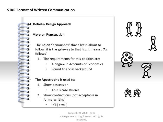 """# 4. Detail & Design Approach More on Punctuation • The Colon """"announces"""" that a list is about to follow; it is the gatewa..."""