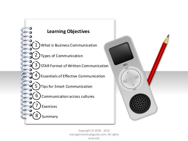 # Learning Objectives 1 2 3 4 What is Business Communication Types of Communication STAR Format of Written Communication E...