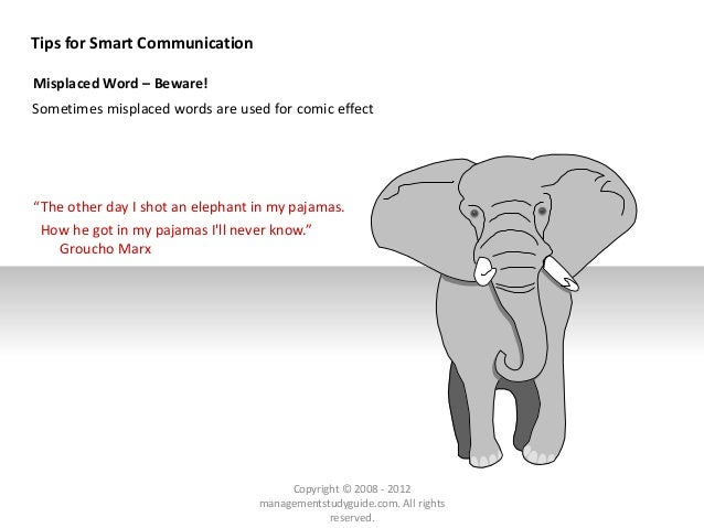 """Tips for Smart Communication Misplaced Word – Beware! Sometimes misplaced words are used for comic effect """"The other day I..."""
