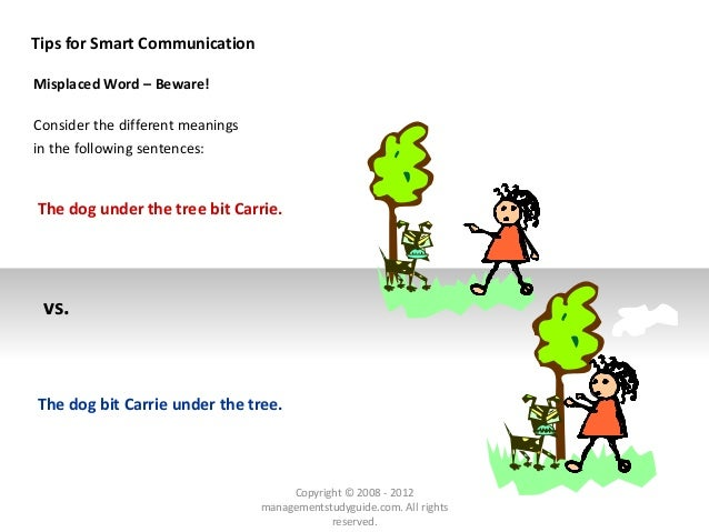 Tips for Smart Communication Misplaced Word – Beware! Consider the different meanings in the following sentences: The dog ...