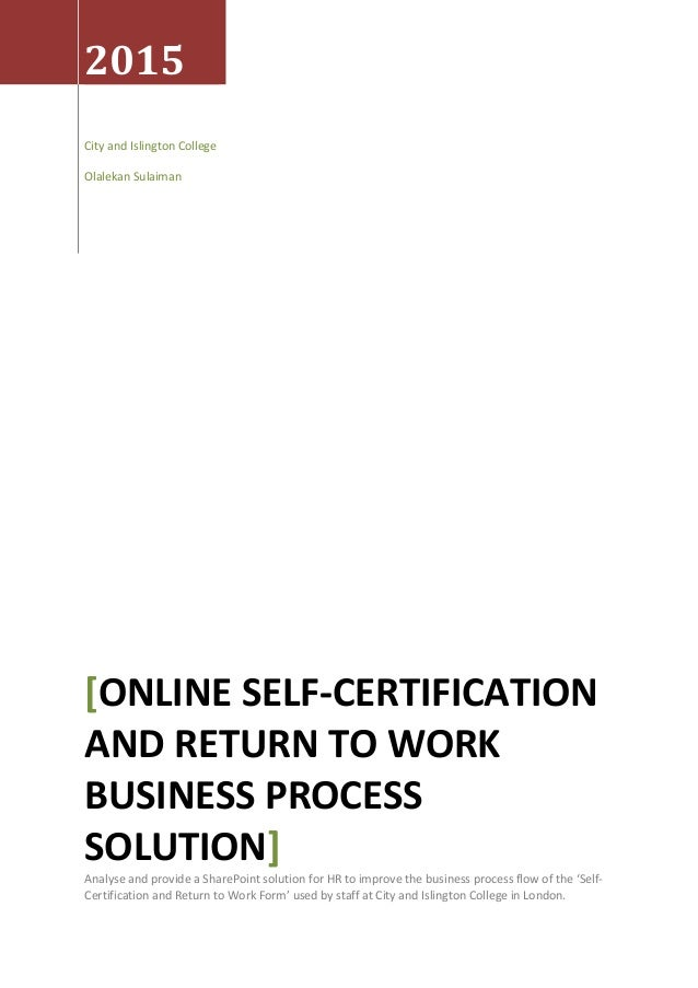 Sharepoint Online Self-Certification And Return To Work Business Proc…