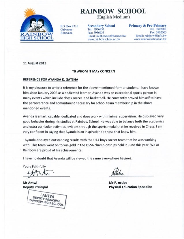2013 rainbow high school reference letter expocarfo Images