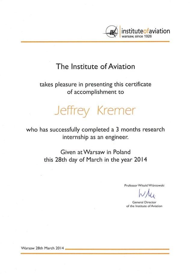 Institute Of Aviation Certificate Of Accomplishment
