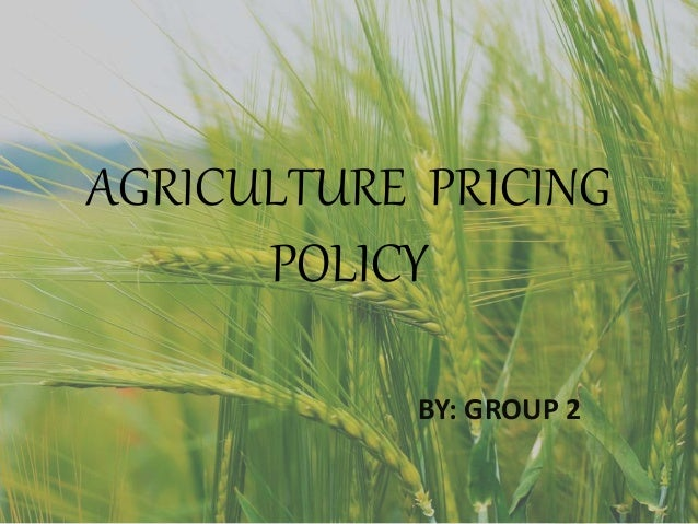 AGRICULTURE PRICING POLICY BY: GROUP 2