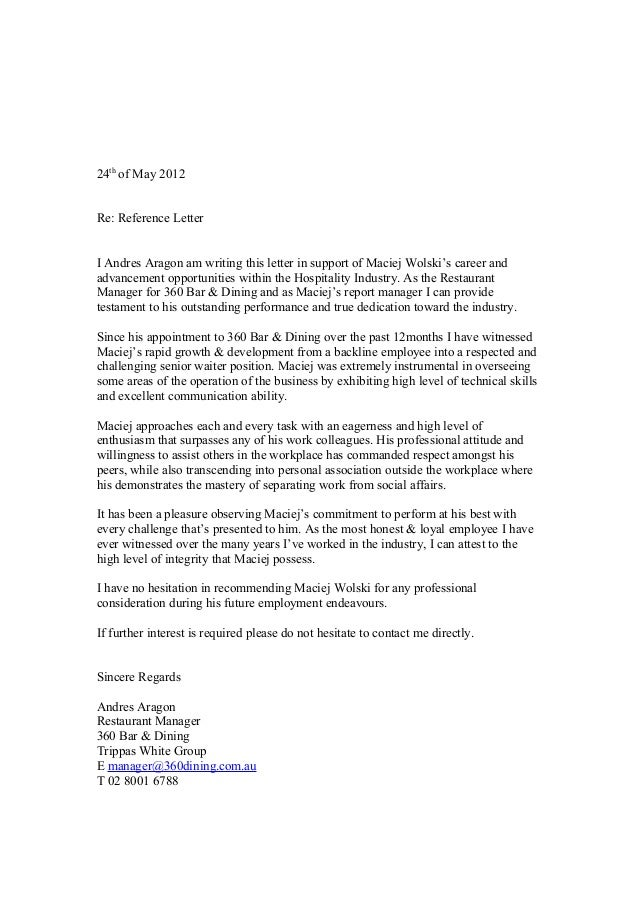 Character Reference Letter Sample For A Job