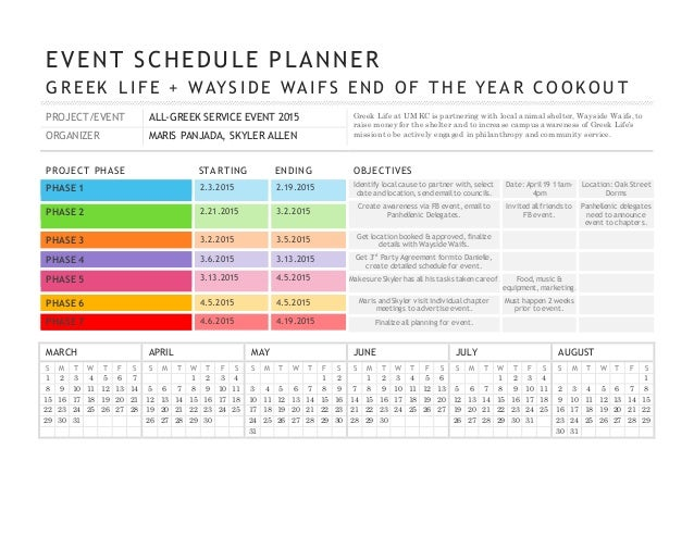 Wayside event schedule planner 2015 for Wedding planning schedule template