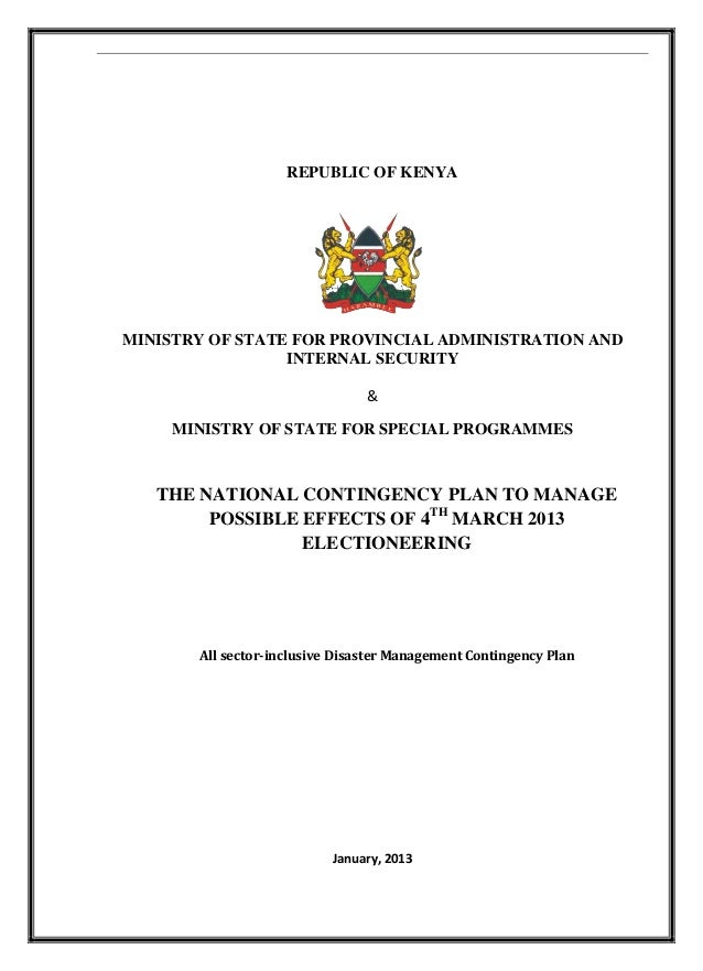 REPUBLIC OF KENYA MINISTRY OF STATE FOR PROVINCIAL ADMINISTRATION AND INTERNAL SECURITY & MINISTRY OF STATE FOR SPECIAL PR...
