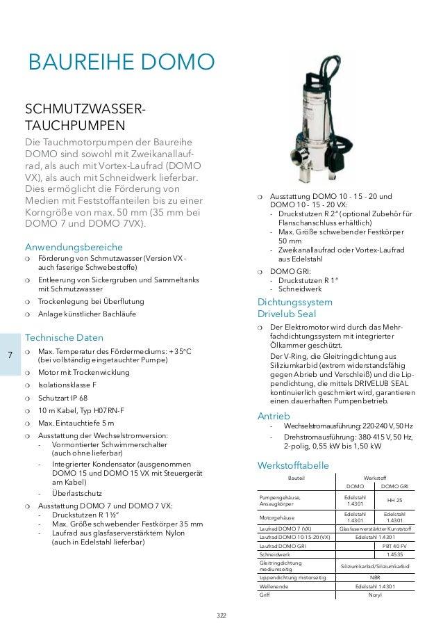 7  BAUREIHE DOMO  SCHMUTZWASSER-TAUCHPUMPEN  Die Tauchmotorpumpen der Baureihe  DOMO sind sowohl mit Zweikanallauf-rad,  a...