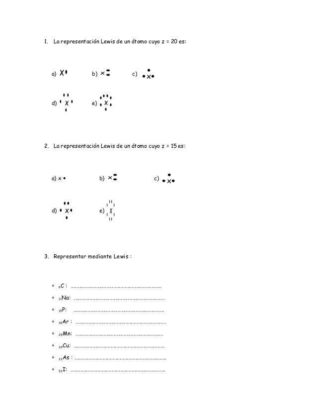 Atractivo Lewis Estructura De Puntos Práctica Hoja De Cálculo Con ...