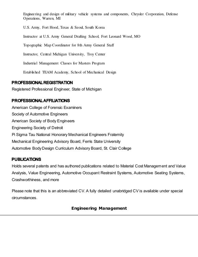 engineering and design of military - Army Mechanical Engineer Sample Resume