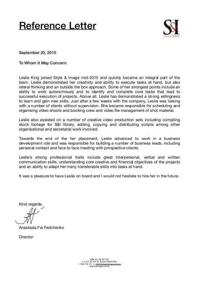 Si letter of recommendation reference letter september 20 2015 to whom it may concern altavistaventures Images