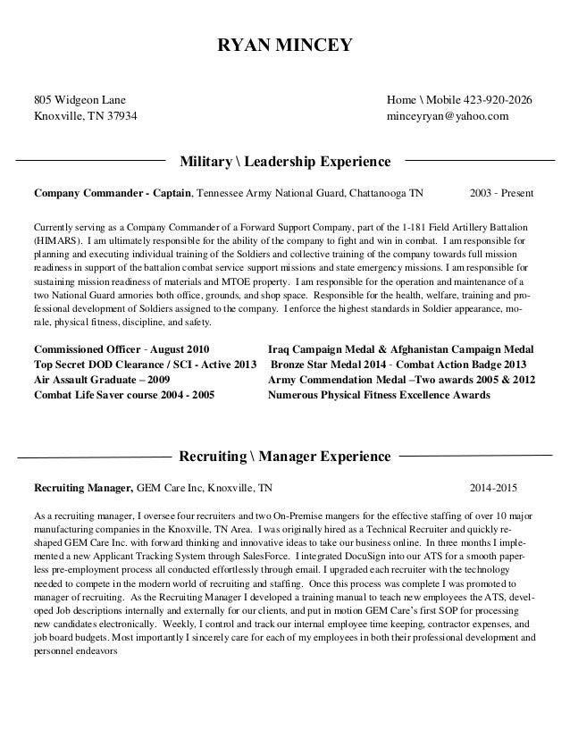 ryan mincey resume 2015 military