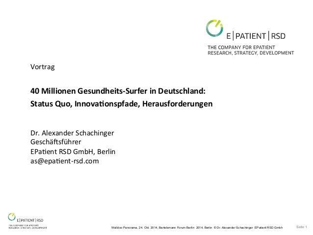 Welldoo Panorama, 24. Okt. 2014, Bertelsmann Forum Berlin 2014, Berlin © Dr. Alexander Schachinger EPatient RSD Gmbh Seite...