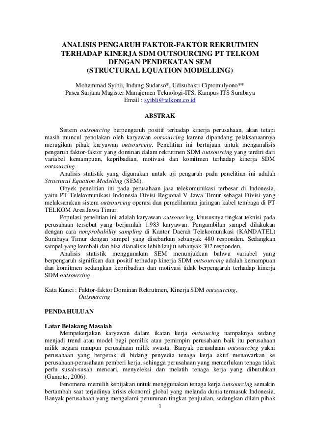 analisi pengaruh faktor faktor rekrutmen terhadap kinerja sdm outsourcing pt telkom dengan pendekatan sem structural equation modelling 1 638