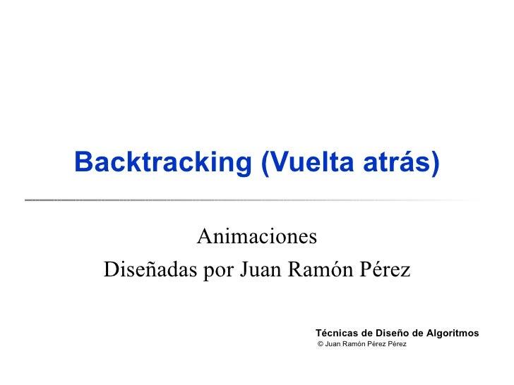 Backtracking  (Vuelta atrás) Animaciones Diseñadas por Juan Ramón Pérez