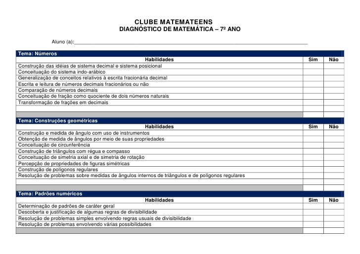 CLUBE MATEMATEENS                                             DIAGNÓSTICO DE MATEMÁTICA – 7º ANO               Aluno (a):_...