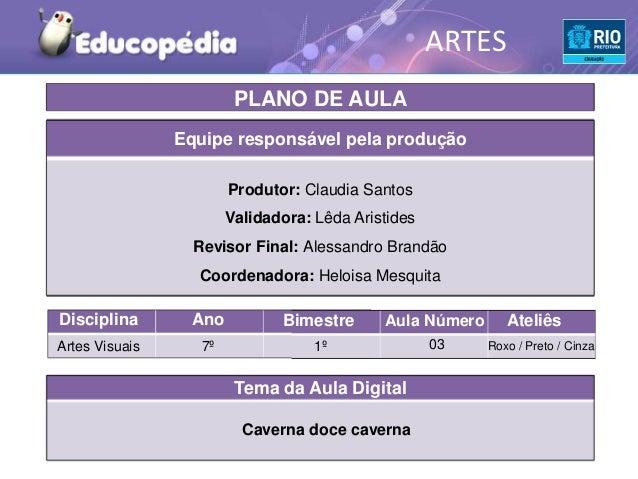 ARTES                         PLANO DE AULA                Equipe responsável pela produção                        Produto...