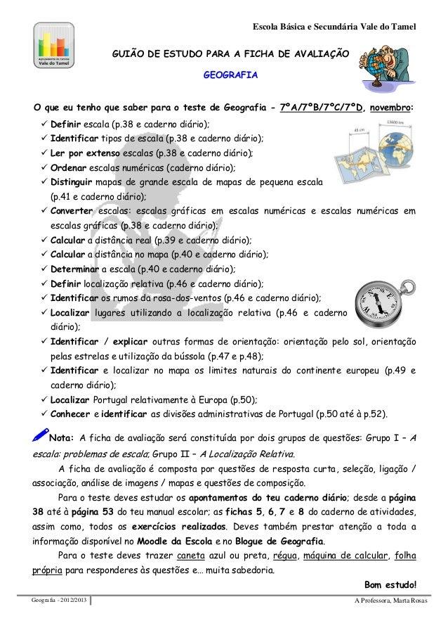 Escola Básica e Secundária Vale do Tamel                        GUIÃO DE ESTUDO PARA A FICHA DE AVALIAÇÃO                 ...