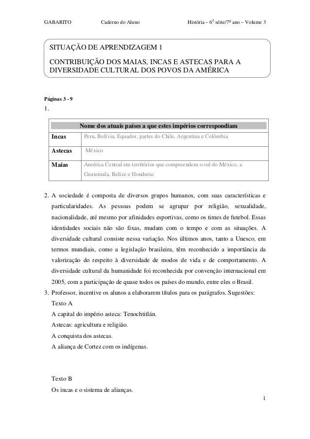 GABARITO Caderno do Aluno História – 6a série/7ºano – Volume 3 1 SITUAÇÃO DE APRENDIZAGEM 1 CONTRIBUIÇÃO DOS MAIAS, INCAS...