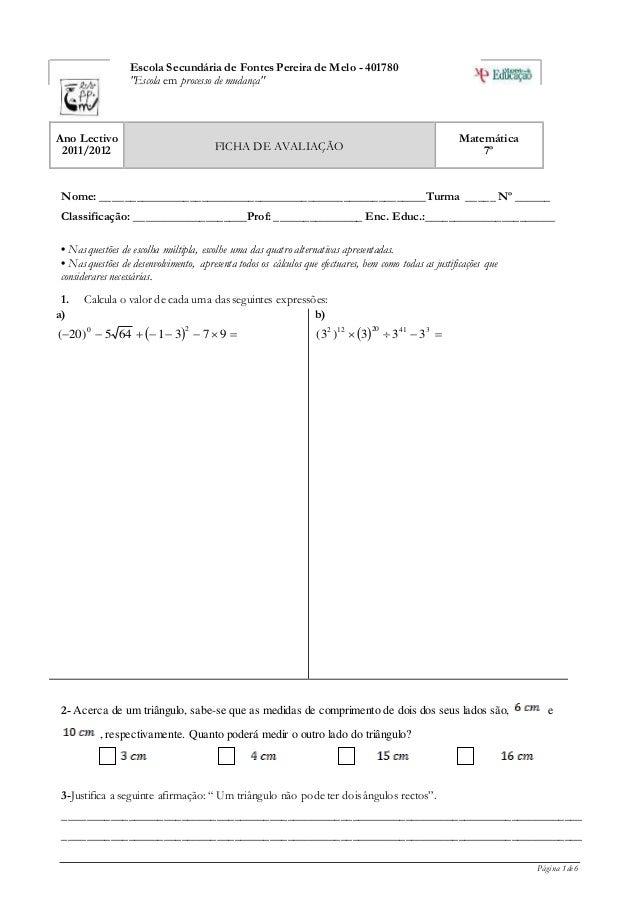 """Página 1 de 6 Escola Secundária de Fontes Pereira de Melo - 401780 """"Escola em processo de mudança"""" Ano Lectivo 2011/2012 F..."""