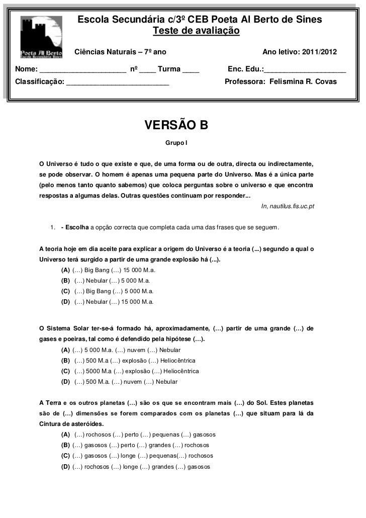 Escola Secundária c/3º CEB Poeta Al Berto de Sines                                 Teste de avaliação                  Ciê...
