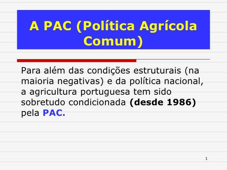 A PAC (Política Agrícola        Comum)Para além das condições estruturais (namaioria negativas) e da política nacional,a a...