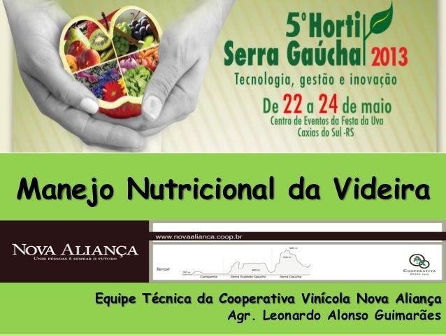 Manejo Nutricional da Videira Equipe Técnica da Cooperativa Vinícola Nova Aliança Agr. Leonardo Alonso Guimarães