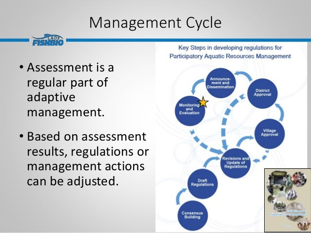 Management Cycle • Assessment is a regular part of adaptive management. • Based on assessment results, regulations or mana...
