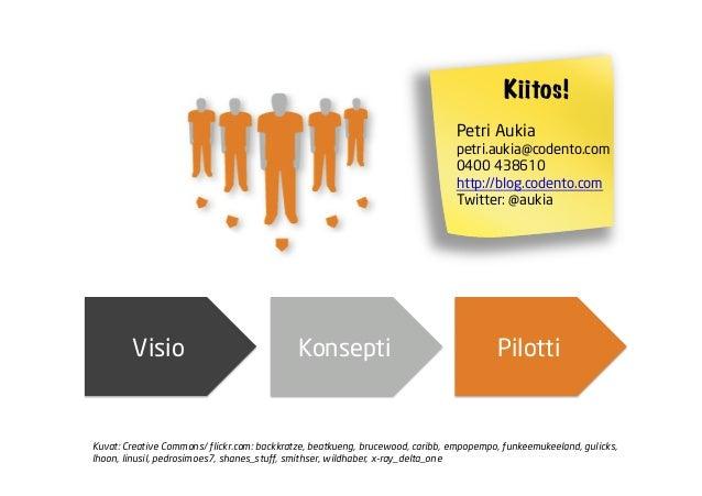 Visio Konsepti PilottiKiitos!Petri Aukiapetri.aukia@codento.com0400 438610http://blog.codento.comTwitter: @aukiaKuvat: Cre...