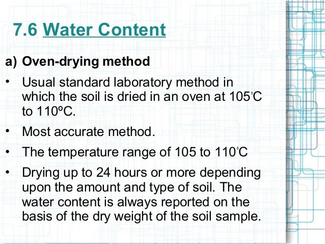 7 a soil properties determination for Soil content