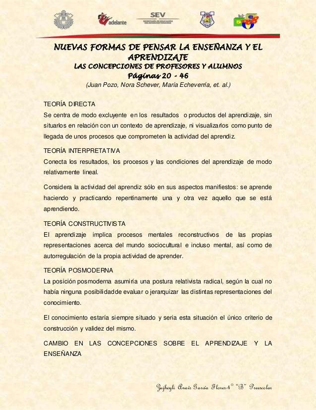 """Zujheyli Anaís García Flores-4° """"B"""" Preescolar NUEVAS FORMAS DE PENSAR LA ENSEÑANZA Y EL APRENDIZAJE LAS CONCEPCIONES DE P..."""