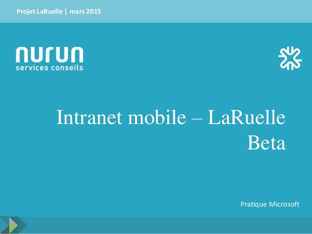 Intranet mobile – LaRuelle Beta Projet LaRuelle | mars 2015 Pratique Microsoft