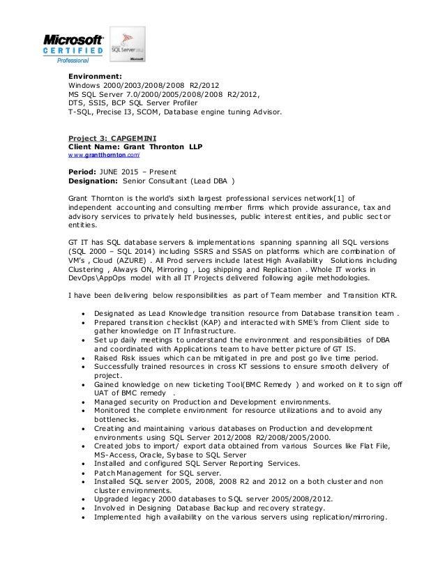4 - Sql Server Dba Resume