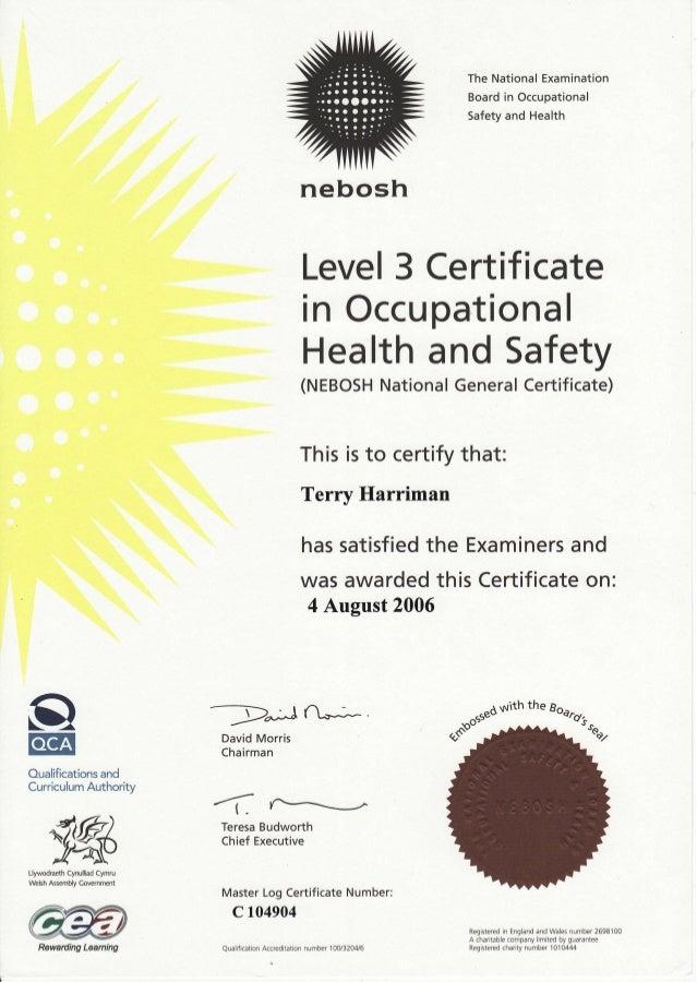 Tsharriman Nebosh Certificate