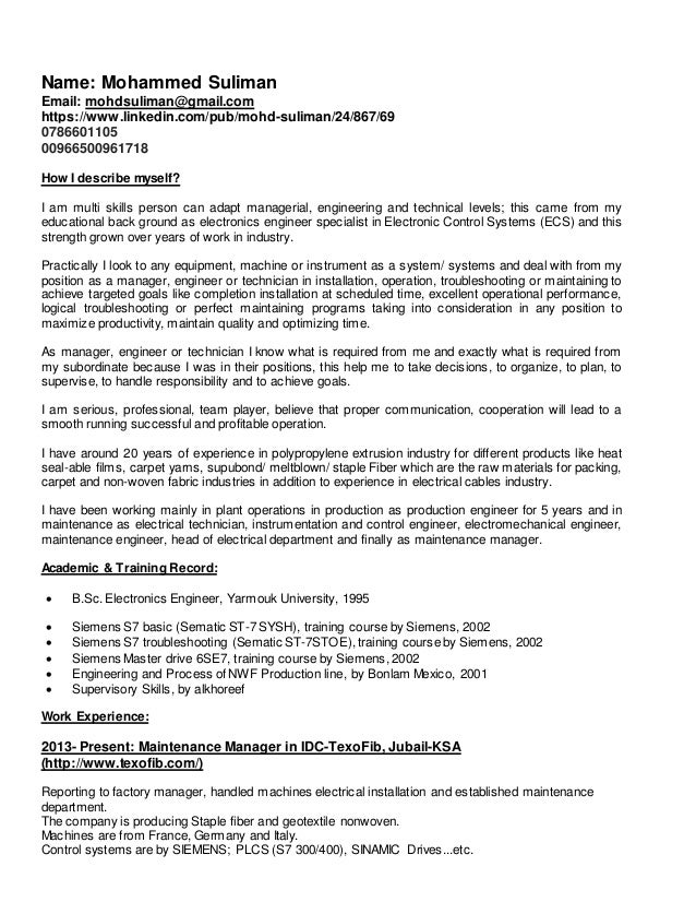 Maintenance Manager Cv
