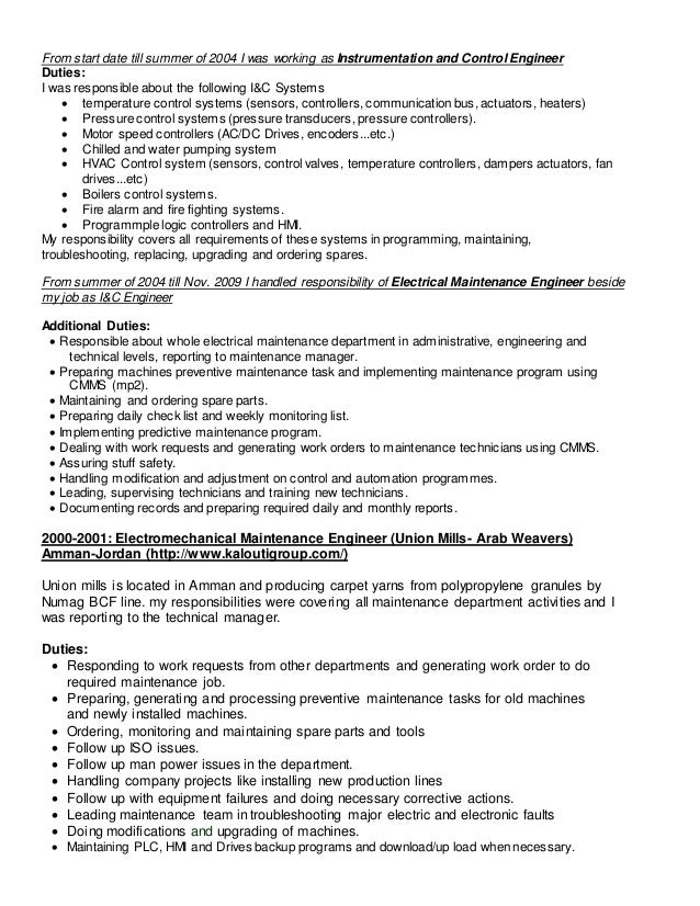 resume for maintenance manager resume for maintenance manager