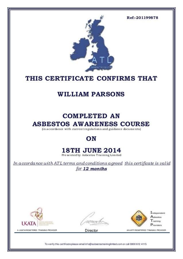 certificate asbestos awareness slideshare upcoming