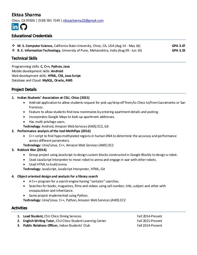 ektaa sharma resume