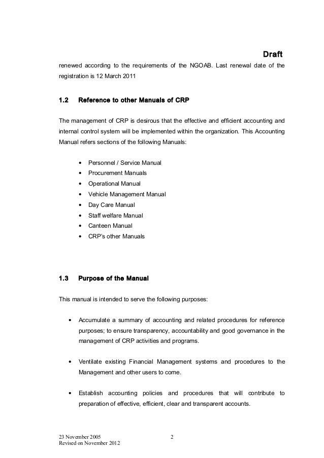 draft accounting manual 2012 crp acnabin rh slideshare net Accounting Reference Guide Accounting Resume References