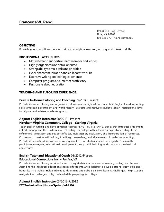 francesca rand english instructor resume