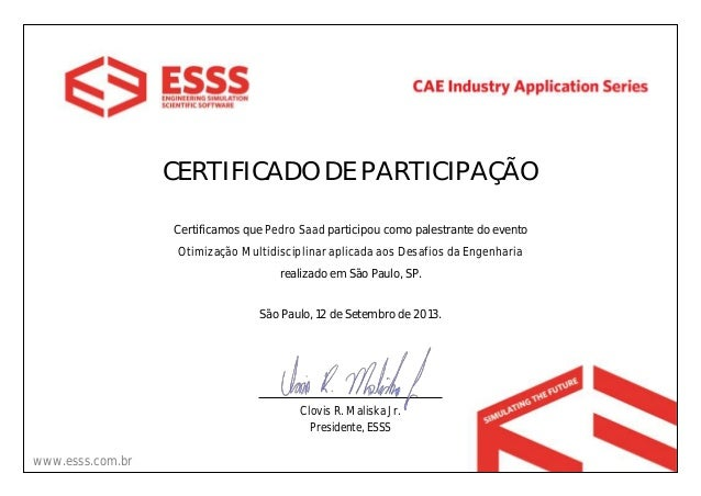 CERTIFICADO DE PARTICIPAÇÃO Certificamos que Pedro Saad participou como palestrante do evento Otimização Multidisciplinar ...