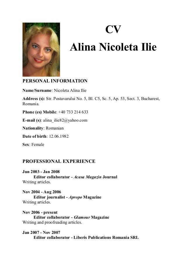 CV engleza AI