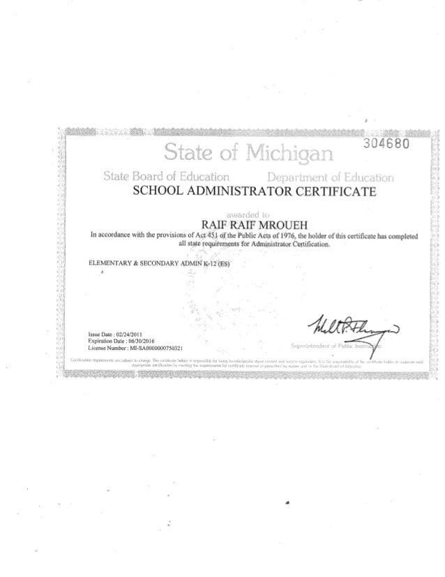 Raif Raif Mroueh State Of Michigan Admin Certification